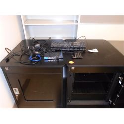 (2) electronic cabinets, (2) Dell keyboards, Connectland key board, APD AC power adapter, Teipp-Lite