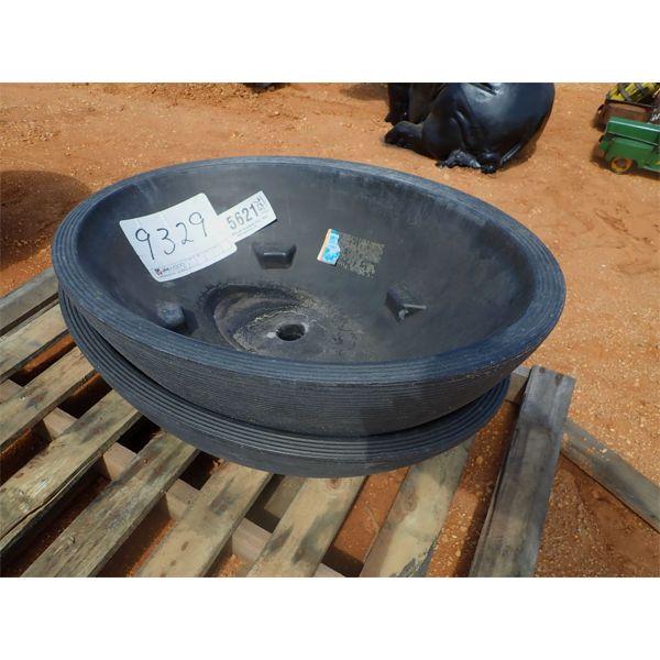 (2) oval flower pots