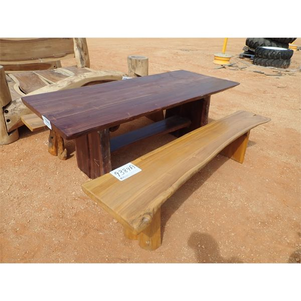 """34"""" x 79"""" Teakwood table w/2 benches"""