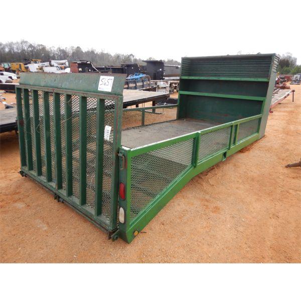 16' x 8' flatbed w/4' dovetail, fold down ramp, storage shelve, side rail