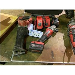 MILWAUKEE CORDLESS M18 RECIPROCATING SAW, MILWAUKEE CORDLESS M18 ANGLE GRINDER, CHARGER & 2
