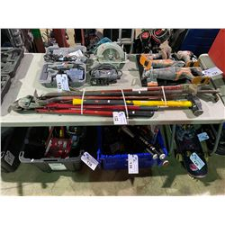 ASSORTED LARGE TOOLS, SLEDGE HAMMER, BOLT CUTTERS & PRY BARS