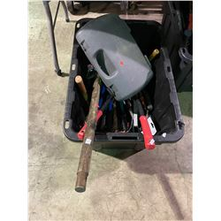 BIN OF ASSORTED HAND TOOLS & LARGE TOOLS ( BIN INCLUDED )