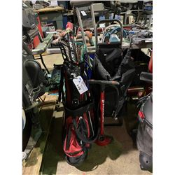 HURRICANE AIR PUMP, GOLF BAG WITH CONTENTS, BLACK MOBILE CARRY BAG WITH CELL PHONE CASES & CONTENTS