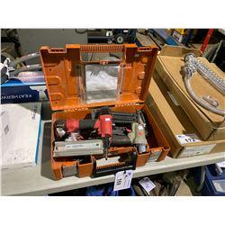 2 PORTER CABLE AIR NAILERS, RED BRAD NAILER & HITACHI BRAD NAILER IN PLASTIC CASE