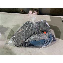 BAG OF ASSORTED CLOTHES, SOCKS, PURSES, SUN GLASSES & BELKIN USB PLUG