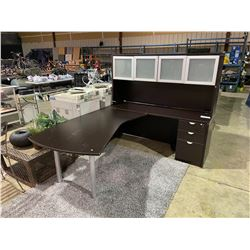 NIGHTSHADE EXECUTIVE L-SHAPED SINGLE PEDESTAL CREDENZA  DESK WITH FROSTED GLASS HUTCH & KEYS