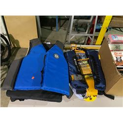 2 MUSTANG SURVIVAL PFDS, 2 WEST MARINE INFLATABLE PFDS, PADDLE, & BOX OF SPORTING GOODS