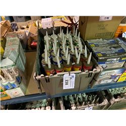 ASSORTED BIN OF CONSTRUCTION ADHESIVES, BOXES OF GARAGE FLOOR EPOXY COATING KITS, & PAINT TRAYS (