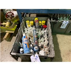 BIN OF ASSORTED CONSTRUCTION GRADE CAULKING / ADHESIVES ( BIN NOT INCLUDED )
