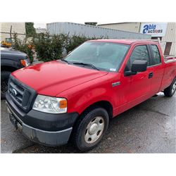 2006 FORD F150, 2 DOOR EXT CAB PICKUP. RED, VIN#1FTVX125X6NB32498