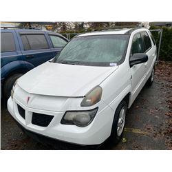 2002 PONTIAC AZTEK, 4DR SUV, WHITE, VIN # 3G7DA03E52S588882