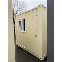 BRAND NEW 9' SHIPPING STORAGE CONTAINER, PORTABLE OFFICE, WITH DOOR, WINDOW AND REAR DOOR