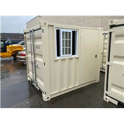 BRAND NEW 8' SHIPPING STORAGE CONTAINER, PORTABLE OFFICE, WITH DOOR, WINDOW AND REAR SWING DOOR