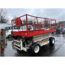 MARK LIFT SCISSOR LIFT, MODEL MT, SER # 9863502, GAS, MAX HEIGHT 25FT MAX CAPACITY 1500LBS