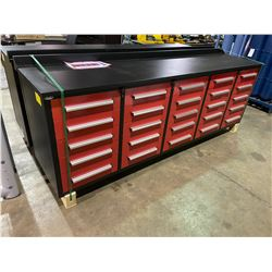 """STEELMAN 9'5"""" 25 DRAWER RED METAL INDUSTRIAL WORK BENCH WITH DRAWER LOCKS, ANTI-SLIP LINERS, CAN"""
