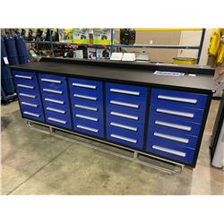 STEELMAN 9'5  25 DRAWER BLUE METAL INDUSTRIAL WORK BENCH WITH DRAWER LOCKS, ANTI-SLIP LINERS, CAN