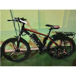 BLACK / RED TAOCI 21 - SPEED ELECTRIC CRUISER BIKE WITH FULL DISC BRAKES (NO KEY, NO CHARGER, BACK