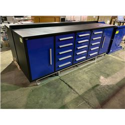 STEELMAN 9'5  15 DRAWER, 2 DOOR BLUE METAL INDUSTRIAL WORK BENCH WITH DRAWER LOCKS, ANTI-SLIP