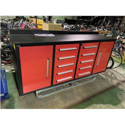 STEELMAN 7' 10 DRAWER, 2 DOOR RED METAL INDUSTRIAL WORK BENCH WITH DRAWER LOCKS, ANTI-SLIP