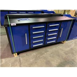 STEELMAN 7' 10 DRAWER, 2 DOOR BLUE METAL INDUSTRIAL WORK BENCH WITH DRAWER LOCKS, ANTI-SLIP
