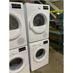 BOSCH 300 SERIES WAT28400UC WHITE FRONT LOAD STACKING WASHER & WTG86400UC VENTLESS DRYER SET