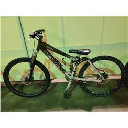 GREEN / SILVER KONA DAWG 27 - SPEED FULL SUSPENSION MOUNTAIN BIKE WITH FULL DISC BRAKES (FRONT TIRE