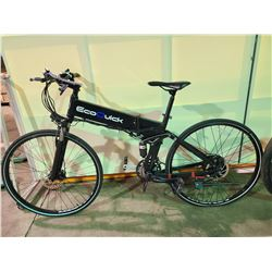 BLACK ECO QUICK 24 - SPEED FULL SUSPENSION COLLAPSIBLE ELECTRIC ROAD BIKE WITH FULL DISC  BRAKES