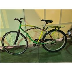 2 BIKES - GREEN / YELLOW NO NAME SINGLE SPEED CRUISER BIKE (NO BRAKES), BLACK GARNEAU 21 - SPEED