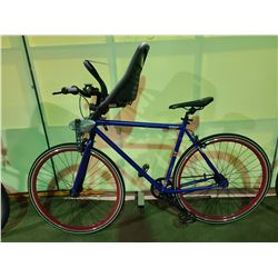 BLUE COLUMBIA H10 SINGLE SPEED ROAD BIKE WITH FRONT MOUNTED BABY SEAT ATTACHMENT
