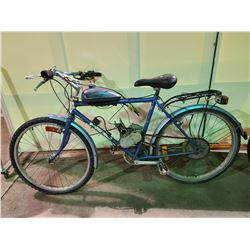 BLUE KUWAHARA APOLLO 18 - SPEED MOUNTAIN BIKE WITH GAS TANK / MOTOR PARTS ( PARTS ONLY NEEDS