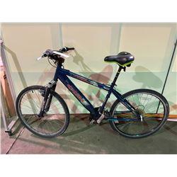 2 BIKES - BLUE CCM 21 - SPEED FRONT SUSPENSION MOUNTAIN BIKE & WHITE NO NAME 15 - SPEED  HYBRID