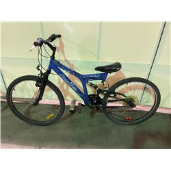 2 BIKES - BLUE CARRERA 18 - SPEED FULL SUSPENSION MOUNTAIN BIKE & BLUE INFINITY 21 - SPEED FRONT