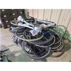PALLET OF NORCO VALENCE BIKE FRAME, HAIBIKE ELECTRIC BIKE FRAME, TIRES, RIMS & PARTS