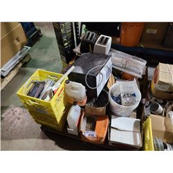 PALLET OF ASSORTED MICROWAVE, TOASTERS & HARDWARE
