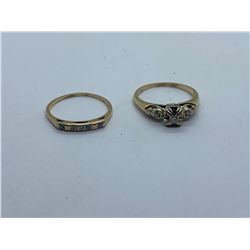 2- 14K RINGS WITH DIAMONDS REPLACEMENT VALUE 425.00