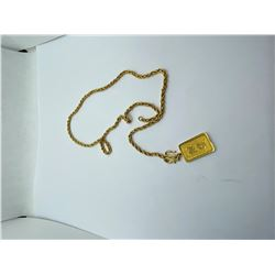 """22K -19"""" CHAIN WITH 22K PENDANT REPLACEMENT VALUE 3100.00"""