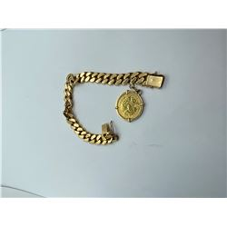 """18K MENS BRACELET 7.25"""" WITH 1909 FRANCE GOLD COIN CHARM REPLACEMENT VALUE 6350.00"""