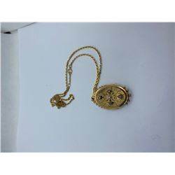 """18K-21"""" CHAIN WITH 15K LOCKET WITH PEARLS REPLACEMENT VALUE 1800.00"""