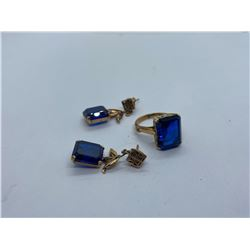14K LADIES RING WITH BLUE STONE, 14K EARRINGS WITH BLUE STONES