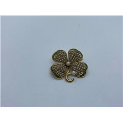14K FOUR LEAF CLOVER BROOCH WITH PEARLS AND GREEN STONES