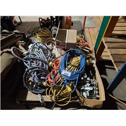 PALLET OF ASSORTED ELECTRICAL CABLES, EXTENSION CORDS & ROPE