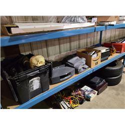 2 SELVES OF ELECTRONICS, TOOLS, FISHING GEAR, FLOOR JACK & HARDWARE