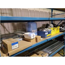 SHELF OF ASSORTED PLUMBING PRODUCT, STORAGE TANK & ELECTRICAL ITEMS