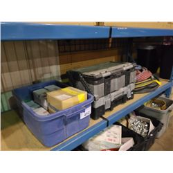 2 TOOL BOXES, CONTENTS, BIN OF HARDWARE, AIR HOSE &WATER HOSE