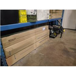 ASSORTED BOXES OF LIGHTING, CHAMPION GAS TRASH PUMP & RIDGID ELECTRIC PUMP