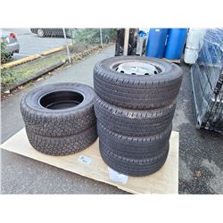 4 HANKOOK 235/65R16 DYNAPRO HT TIRES ON STEEL RIMS AND 2 KELLY LT275/70R18 EDGE AT TIRES (NOT ON