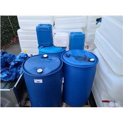 3 - 208L WATER BARRELS, 2 - 20L AND 1 - 10L WATER JUGS AND 2 - 32L PALS
