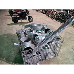 LARGE BIN OF ASSORTED GALVANIZED DUCTING ELBOWS, COUPLINGS AND REDUCERS *BIN NOT INCLUDED*