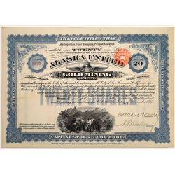 Alaska United Gold Mining Co. Stock Certificate--Uncancelled  (126021)